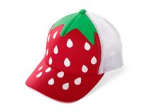 凯维帽业-小草莓点点儿童透气五页运动棒球网帽RM297