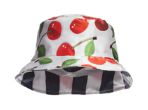凯维帽业-儿童樱桃印花正反面两用条纹遮阳帽RM306