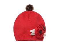 黑白视频体育直播-装饰球春秋保暖儿童花朵针织毛线帽RM321