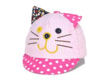 凯维帽业-婴儿可爱小猫咪条纹绣花 印花 点点鸭舌帽定做 RM336