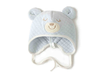 凯维帽业-可爱格子绣花小熊婴儿 儿童套头帽RM366