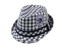 凯维帽业-新款高端格子贴布绣定型礼帽RM433