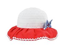 凯维帽业-小女孩红白色拼接大边渔夫帽RM447