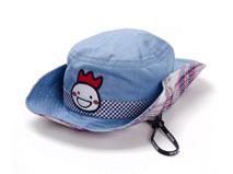 黑白视频体育直播-儿童夏季遮阳边帽 蓝色 绣花 RM450