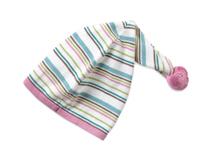 凯维帽业-新款装饰球尖顶条纹儿童套头帽AM073