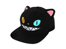 凯维帽业-黑色卡通绣花怪物嘻哈平板帽RM501