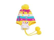 黑白视频体育直播-新款儿童小兔子秋冬保暖条纹毛线针织帽RM509