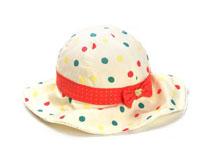 凯维帽业-女童全棉点点蝴蝶结春夏遮阳盆帽RM516