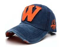 凯维帽业-字母贴布绣花牛仔洗水棒球帽BJ326
