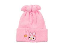 黑白视频体育直播-儿童粉红色小兔子绣花秋冬保暖毛线针织帽RM534