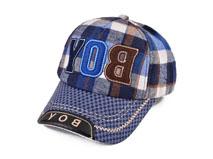 凯维帽业-儿童韩版时尚贴布绣花格子棒球帽RM541