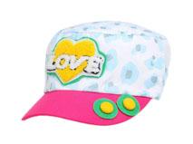 凯维帽业-儿童毛巾绣花字母可爱新款平顶军帽RM547