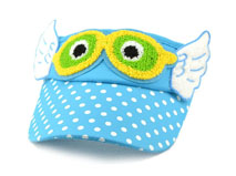 凯2维帽业-儿童点点毛巾绣花眼睛卡通遮阳空顶帽RM552