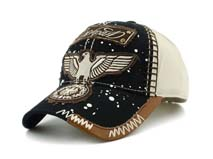 凯维帽业-新款缝线撞色拼接贴布绣花六页遮阳棒球帽BM287