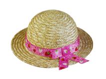 黑白视频体育直播-简约装饰带女童夏季遮阳草帽RR396