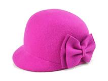 凯维帽业-小女孩羊毛时装帽 桃红色 蝴蝶结 简RW455
