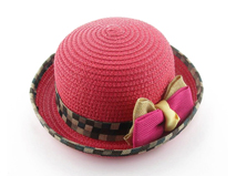 凯维帽业-包边格子大蝴蝶结遮阳定型草帽定做RZ241