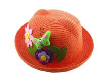 凯维帽业-纯色蝴蝶花朵贴布绣沙滩遮阳草帽定做 RZ246