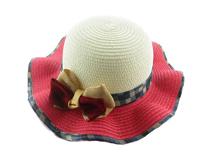 凯维帽业 -大蝴蝶结包边格子沙滩遮阳草帽RZ247