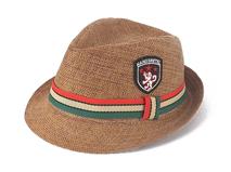 凯维帽业-简约贴布绣儿童沙滩遮阳定型草帽定制RZ282