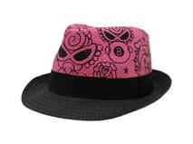 凯维帽业-卡通印花混色拼接儿童定型草帽RZ311