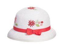 凯维帽业-小清新款儿童丝带蝴蝶结绣花可爱定型草帽RZ328