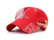 凯维帽业-红色印花驳接透气运动帽 HT062
