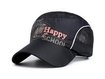 凯维帽业-黑色印花字母驳接网眼透气运动帽HT063