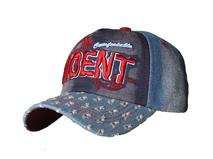 凯维帽业-3D绣花洗水做旧牛仔时装棒球帽BM336