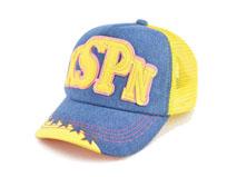 凯维帽业-儿童网眼拼接透气贴布绣花字母棒球帽BM341