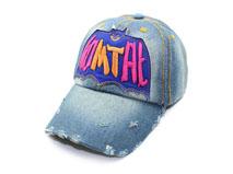 凯维帽业-3D绣花洗水做旧牛仔棒球帽BM342