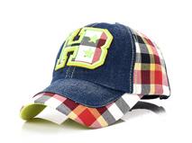 凯维帽业-儿童字母绣花 彩格拼接 棒球帽BM369