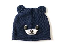 黑白视频体育直播-可爱小熊婴儿针织帽纯羊毛ZM090