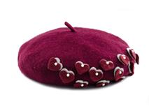 凯维帽业-韩版 单色心形贝雷帽 FW041